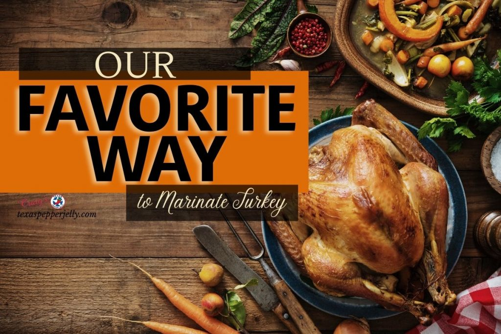 Roasted Turkey with some vegetables - title of our favorite way to marinate turkey